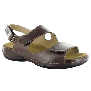 WOLKY Liana Leather Sandals Cafe Brown